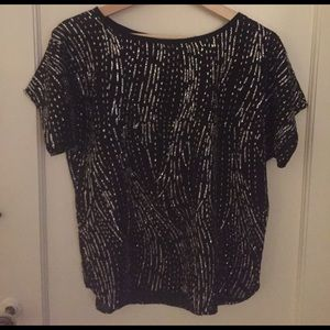 Vintage glitter top in black and silver