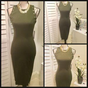 Bisou Bisou Dresses & Skirts - NWT Sexy Olive Green Sleeveless Bodycon Dress🍃