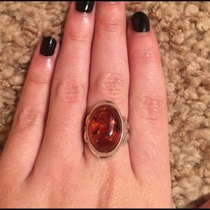 Vintage Jewelry - Amber & Silver Ring