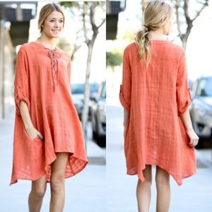 ❣JUST IN❣ Coral Lace Up Shark Bite Tunic Dress