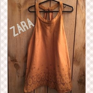 Zara ..Brown Sleeveless Floral Cutout Top Size M