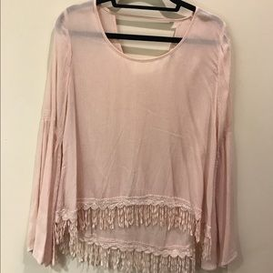 Altar'd State Pink Long Bell Sleeve Top from