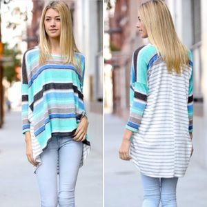 ❣JUST IN❣ Turquoise Stripe Color Block Tunic Top
