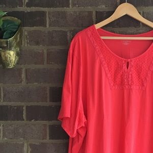 Catherines Tops - Catherine's Salmon Cotton Tee with Lace Detail