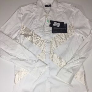 John Richmond Other - JOHN RICHMOND White Cotton/Silk Tuxedo Dress Shirt