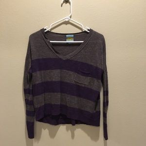 Gray purple stripe pull over shirt