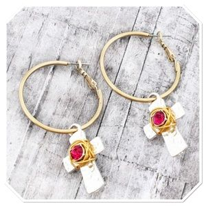 Boutique Jewelry - Two Tone Hoops w/ Cross Charms