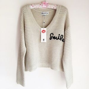 Wildfox Sweaters - Wildfox Smile Embroidered V-Neck Sweater
