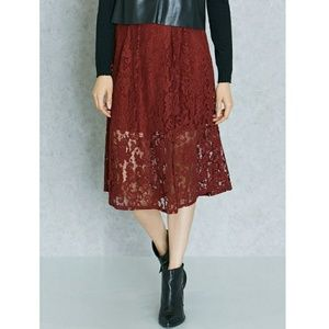 Forever 21 Floral Lace Burgundy Midi Skirt