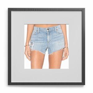 PAIGE DISTRESSED JEAN Raw Hem Shorts