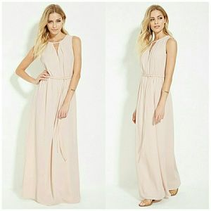 Forever 21 Pale Pink Cutout Maxi Dress