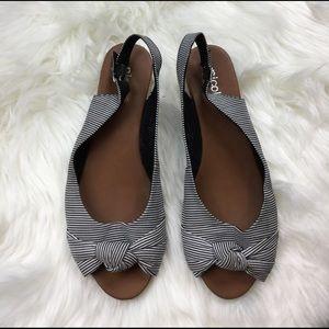 Nicole Shoes - Stripe peep toe mini wedges