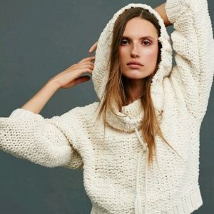 FP Ivory   Hooded Chunky Knit Pullover