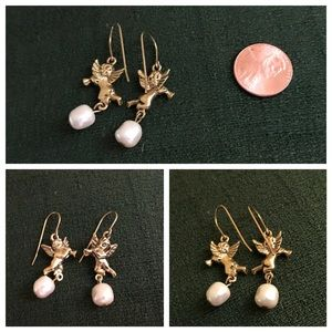 Earrings Cherubs Angels Pearls 2-Sided Gold Tone