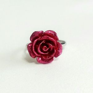 Bright Eyes Other - Red Metallic Rose Ring