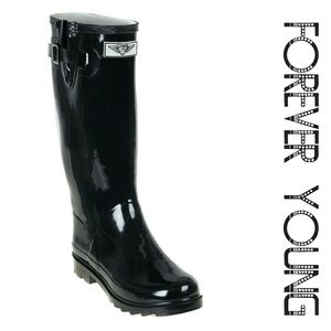 Women Tall Rain Boots, #3106, Black