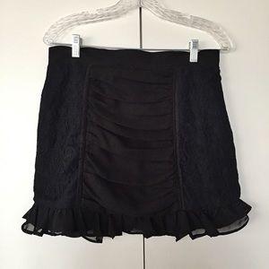 Influence Dresses & Skirts - Black mini raffled and lace skirt! ❤️
