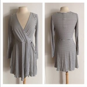 Dresses & Skirts - *2 LEFT! (Plus) B/w striped wrap dress
