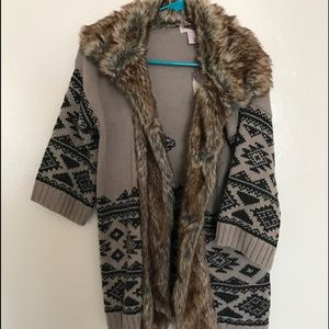 Forever 21 Sweaters - Southwest Print Cardigan with Faux Fur