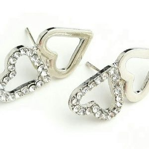 14K Gold Double Heart Pave Crystal Stud Earrings