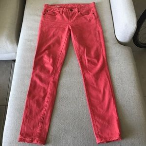 Orange toothpick ankle jeans from J. Crew