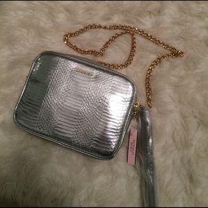 Victoria's Secret Handbags - Silver faux snakeskin purse. NWT.