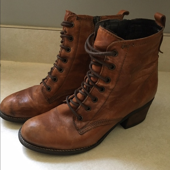 Clarks Brown Leather Lace Up Booties