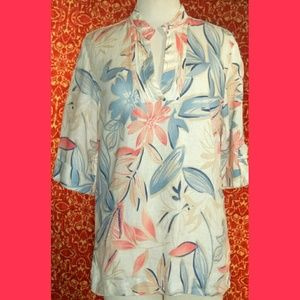 jm collection  Tops - JUST Collection blue floral linen tunic blouse 8