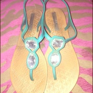 Montego Bay Shoes - Sz 8 Montego Bay Teal Jeweled sandals 💙💎