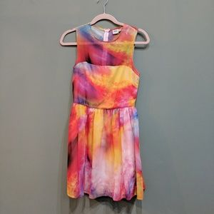 Asos rainbow tie dye print dress size 4