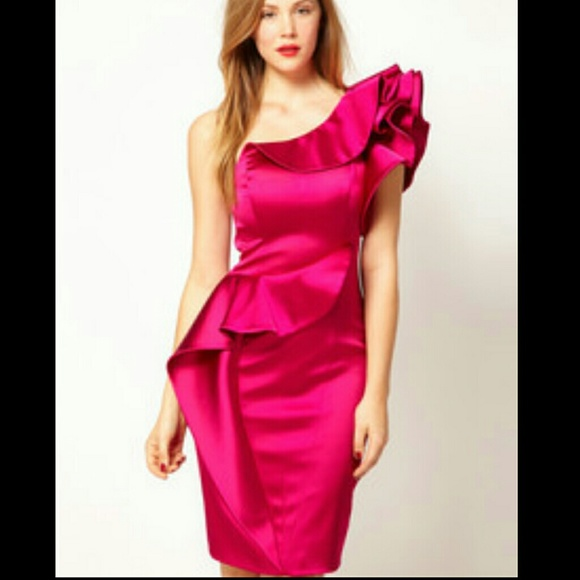 596d91abd47 Karen Millen Dresses | Sz 2 Hot Pink 1 Shoulder Satin Dress | Poshmark