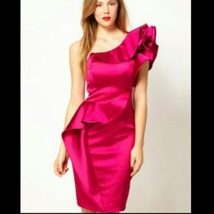 Sz 2 Karen Millen Hot Pink 1 shoulder satin dress