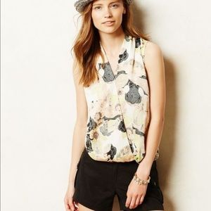 Anthropologie Floral Sleeveless Top