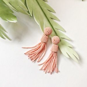 Peach Beaded Tassel Earring