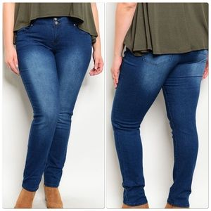 Denim - Blue Denim Skinny Jeans Plus Size