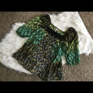 Xhilaration Tops - Green and Black Vintage Like Peasant Blouse