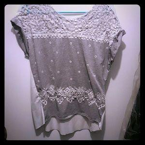 zara lace trim blouse