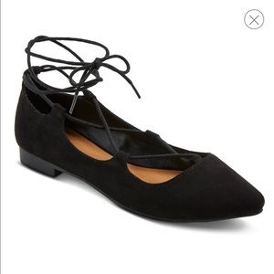 Black Lace-up Pointed Ballet Flat NWT