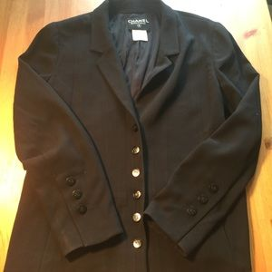 Vintage Chanel Boutique Black Wool Silk Blazer