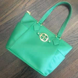 NWOT Iman Green & Gold Zip up Tote Bag