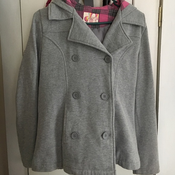 68% off Jackets & Blazers - Sweatshirt material gray pea coat from ...