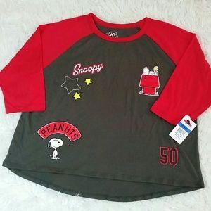Peanuts Tops - Peanuts Black Red Graphic Tshirts XSmall & XL