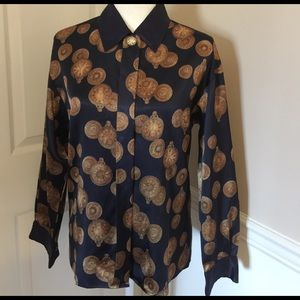 Blue & Gold WEATHERVANE long sleeve blouse, sz 6