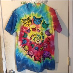 Fruit of the Loom Other - Trendy ty dye cat shirt