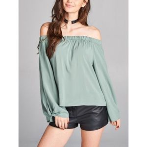 Dusty Sage Off Shoulder Top