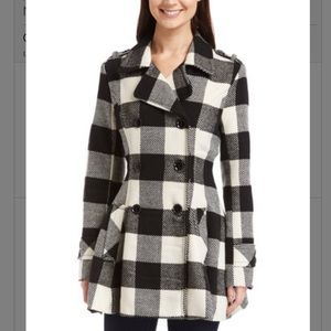 Urban Republic Jackets & Blazers - Black & White Plaid Natalie Peacoat