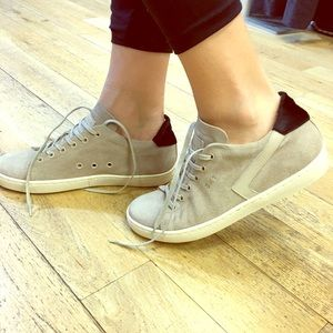 Leather Crown Shoes - Leather crown SKT Italy cap sneakers beige black