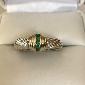 David Yurman Jewelry - David Yurman Silver and Gold Emerald Ring