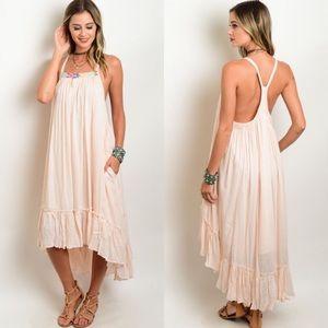 Peach Spaghetti Strap Hi-Low Ruffle Dress