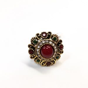 Jewelry - Gorgeous Green and Red Cocktail Ring Size 7!